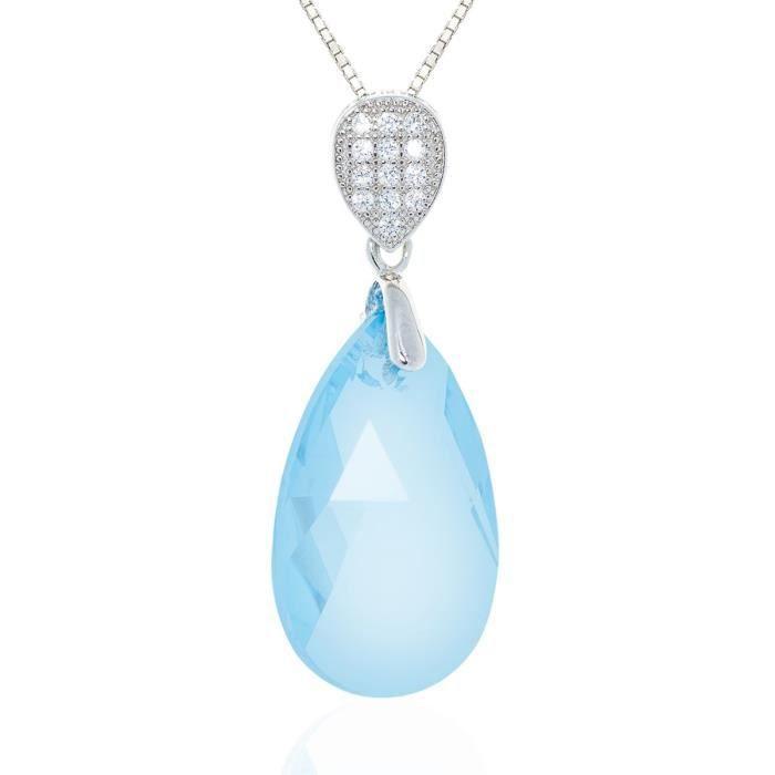 Collier En Argent Avec Oxydes Et Cristal En Forme De Goutte Deau Azur De Swarovski Element - TU Cristal De Swarovski