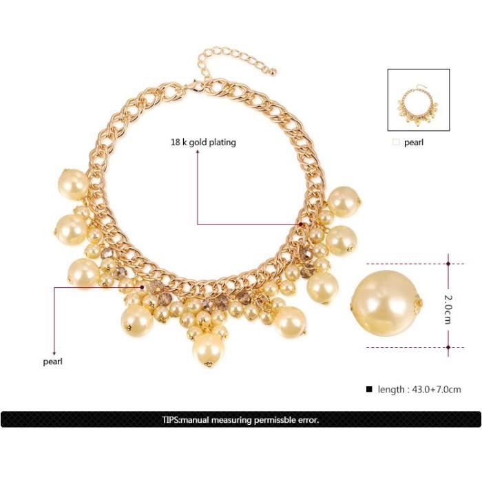 18 K Plaqué Or Brillant Strass Luxe Élégant Perle Choker Colliers Pour Femmes - Filles Bijoux De Mariage