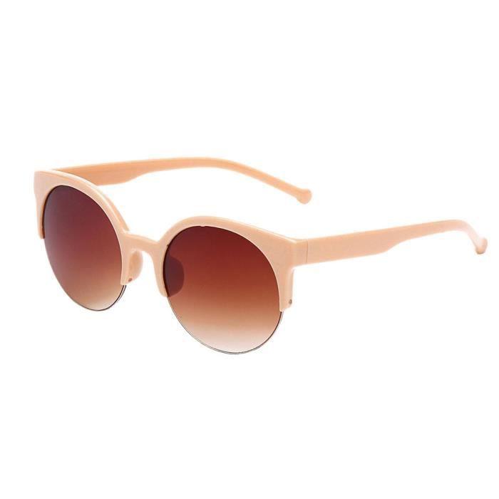 Deuxsuns®Lunettes de soleil Vintage Cat Eye semi-Rim lunettes de soleil rondes pour hommes femmes lunettes de soleil@zf162
