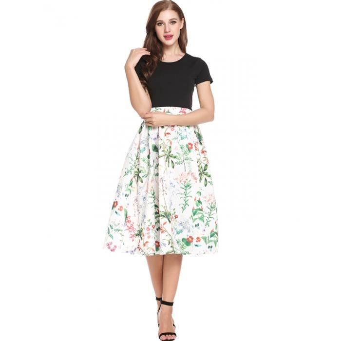 femmes robe plissé a-line Casual O-cou à manches courtes impressions Patchwork ourlet