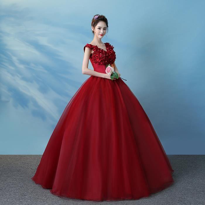 robe de soirée élégant vin rouge V cou sans manches en dentelle dos robe de bal