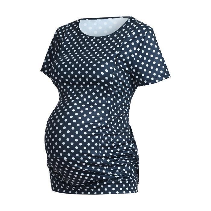 Vêtements Maternité Tops De Dot Courtes T Manches Nusring Femme shirts Marine Allaitement qzEww10