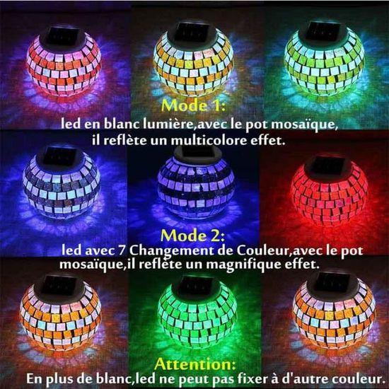 E Table Veilleuse Mise Lampe Solaire De Mosaïque Verre Photophore Boule Sur Déco Ampoule Atmosphèremulticolore Jardin Led KJcTl3F1