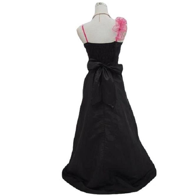 Robe de cérémonie longue noire et rose, soirée, cocktail