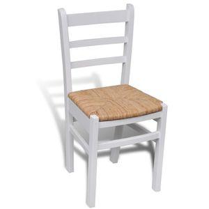 Salle a manger bois blanc achat vente salle a manger - Chaise bois blanc salle manger ...
