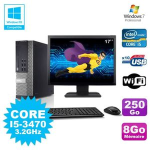 UNITÉ CENTRALE + ÉCRAN Lot PC Dell 7010 SFF Core I5-3470 3.2GHz 8Go 250Go