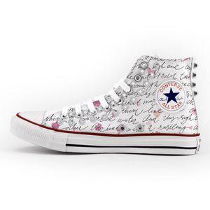 Converse All Star Personnalisé, Imprimés et Clouté argent chaussures à la main produit Italien lettre d'amour