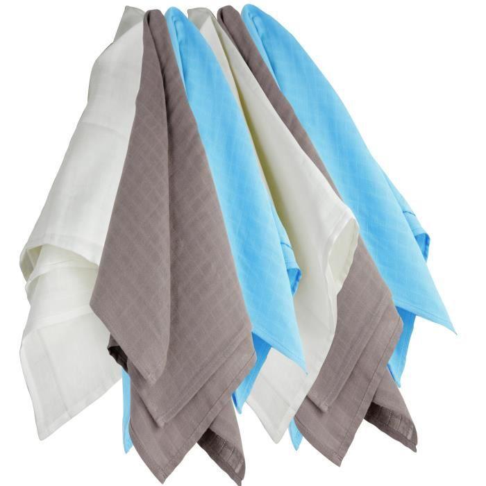 TROIS KILOS SEPT 1 Lot de 6 langes 70x70 cm Blanc / Marron / Turquoise