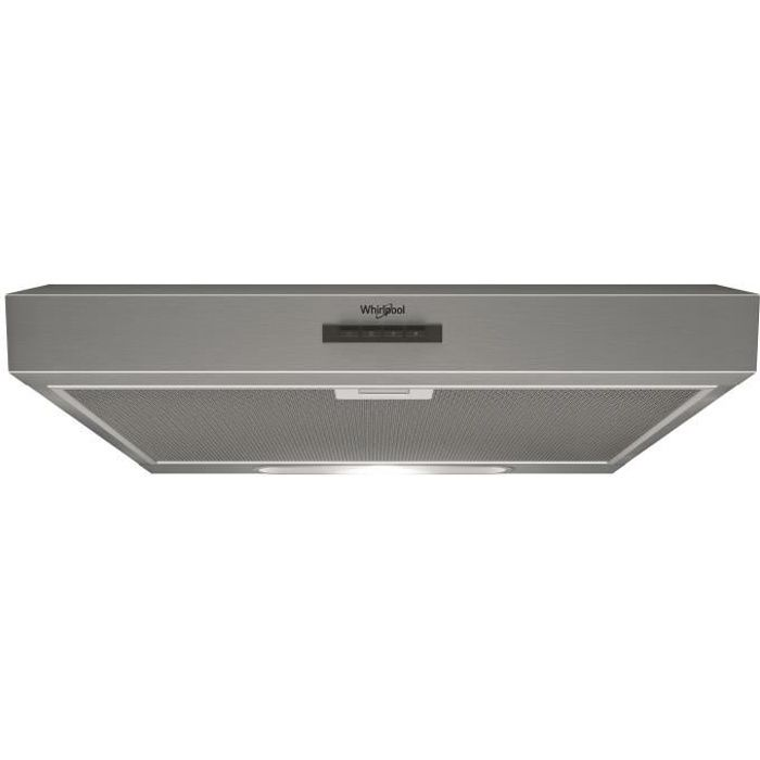 WHIRLPOOL WSLK66/1ASX Hotte décorative - Evacuation et recyclage - 386 m3 air / h max - 69 dB max -