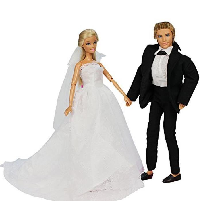 1 robe de mariage pour barbie 1 queue de pie pour poup e ken fianc de barbie 11030 achat - Image barbie et ken ...