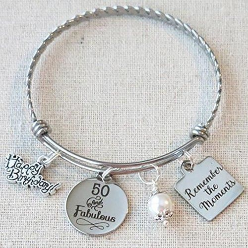 Womens 50th Birthday Gift, Milestone Birthday Gifts For Her, Best Friend Bracelet, Remember The Mo GXS7T