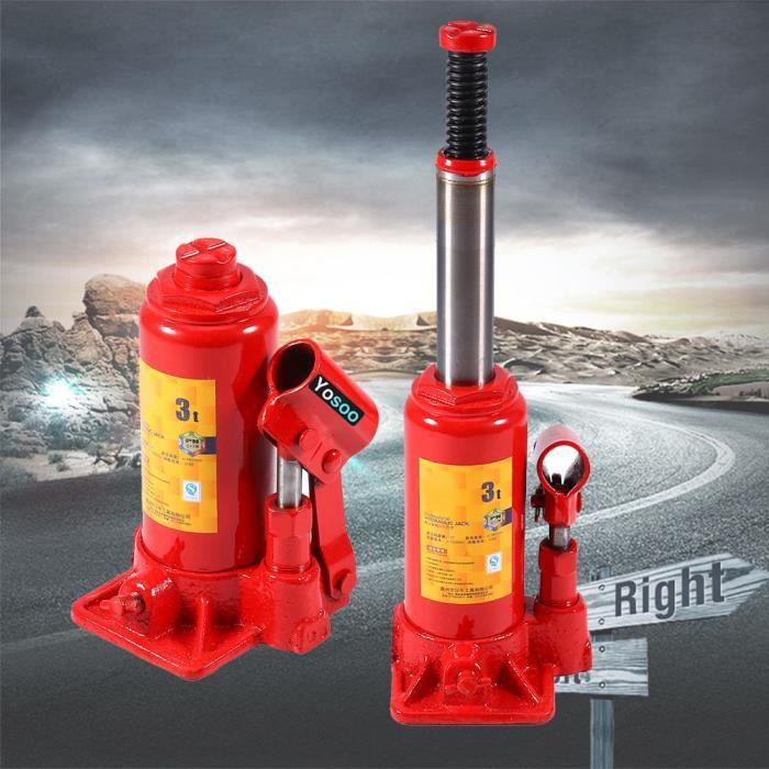 CRIC Cric Bouteille Hydraulique 3 Tonnes Rouge