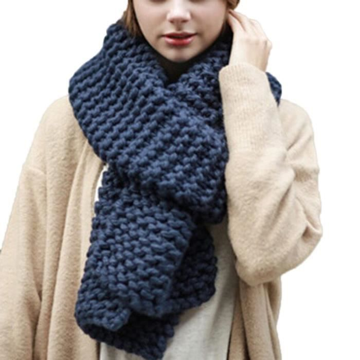 Napoulen®Mode femme chaud rond cou Snood écharpe tricot multifonctionnel  -XPP11128403 290bea14375