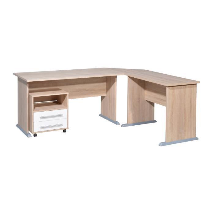 bureau d 39 angle avec caisson blanc et bois naturel achat. Black Bedroom Furniture Sets. Home Design Ideas