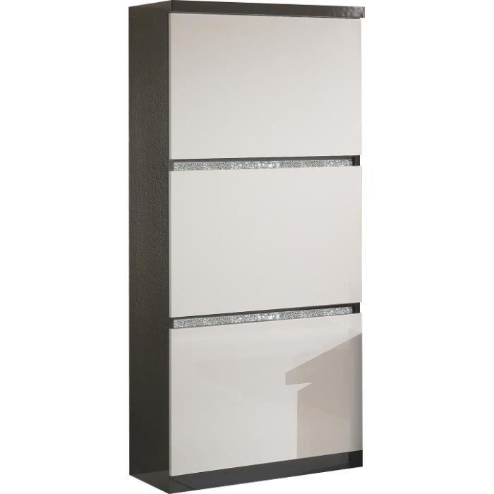 VITRINE - ARGENTIER Meuble de rangement à 3 portes noir et blanc laqué