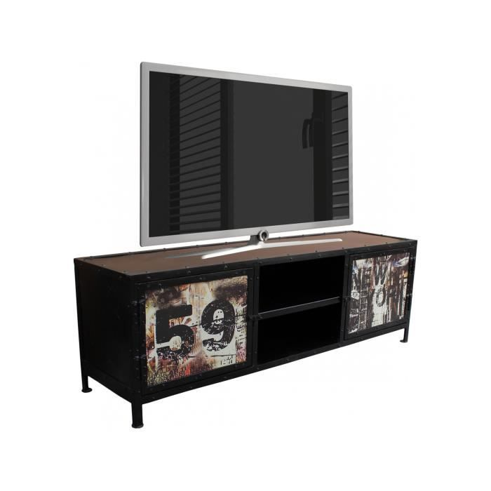Meuble TV style industriel 150x50 cm en métal avec 2 portes et 2 ...