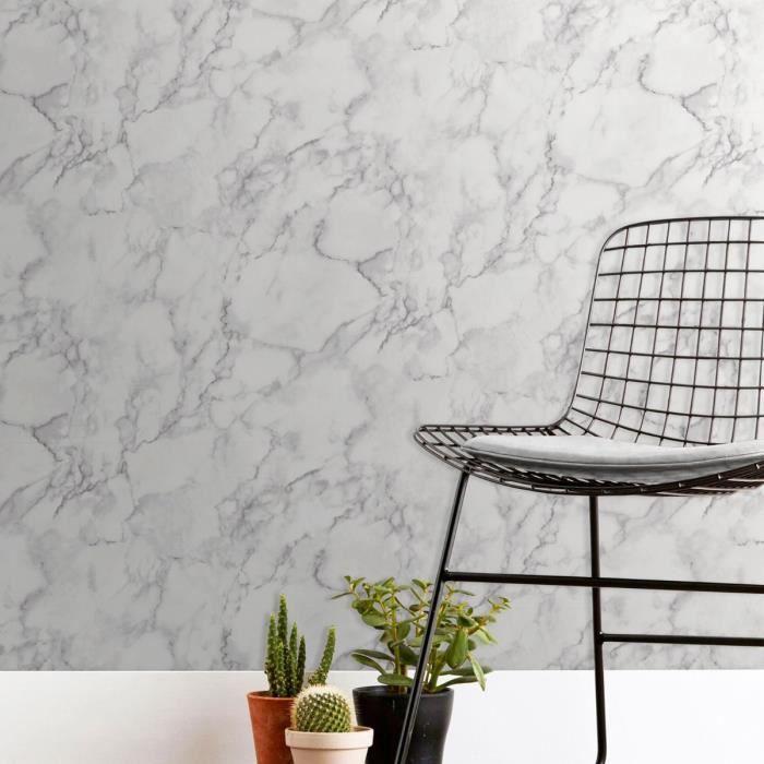 Marblesque plaine fond d'écran marbre blanc beau décor FD42274 - Achat / Vente papier peint ...