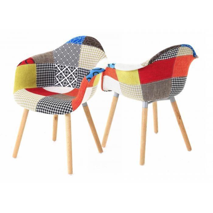 X Fauteuil Design Multicolore Patchwork Achat Vente Fauteuil - Fauteuil design patchwork
