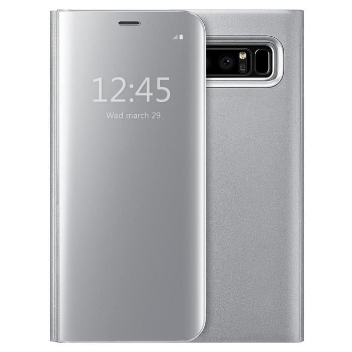 Coque etui housse samsung galaxy note 8 clear view etui for Housse galaxy note 8