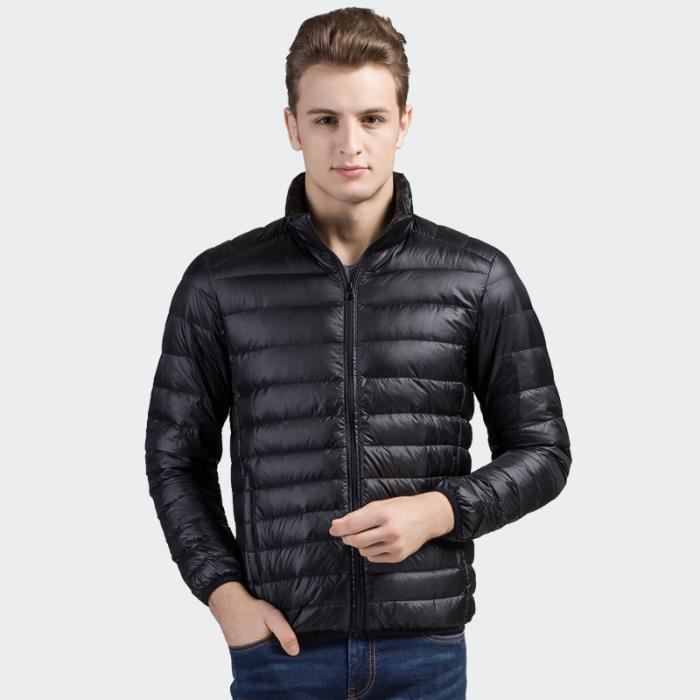 doudoune homme hiver veste blouson homme luxe marque fine et l g re noir doudoune gar on enfant. Black Bedroom Furniture Sets. Home Design Ideas