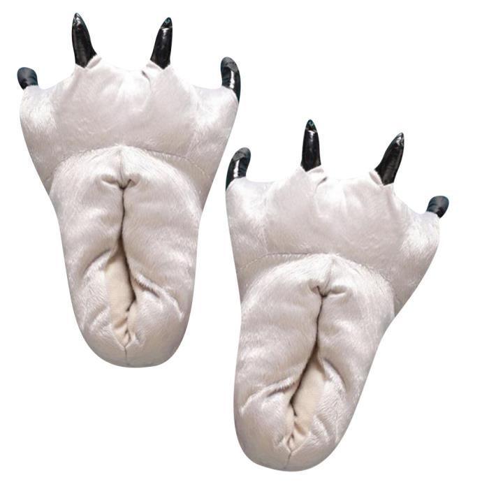 Pantoufle Griffe Femme Hiver Pantoufles De DinosaurePeluche Pantoufles Animaux Paw Pantoufles Ultra Confortable blanc 45