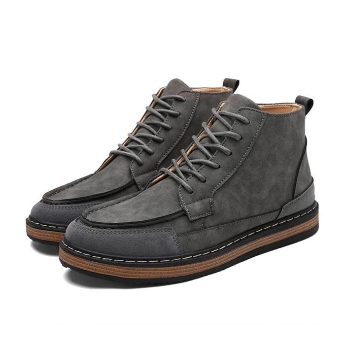 Bottine Homme Respirant Chaud 2018 Extravagant Bottines Léger Chaussure Antidérapant Durable Gris Haut qualité Grande Taille 39-44
