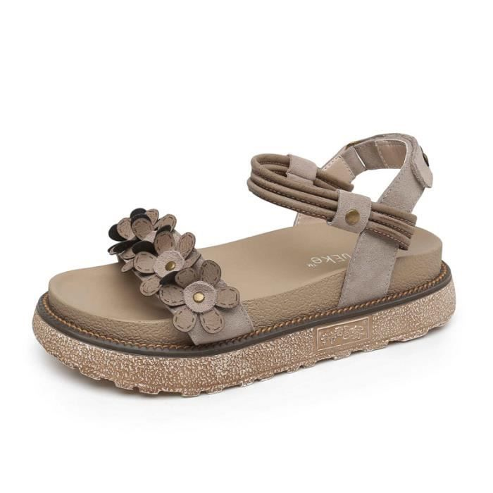 Rétro sandales plates romaines. Beige 6A9JwUs3k
