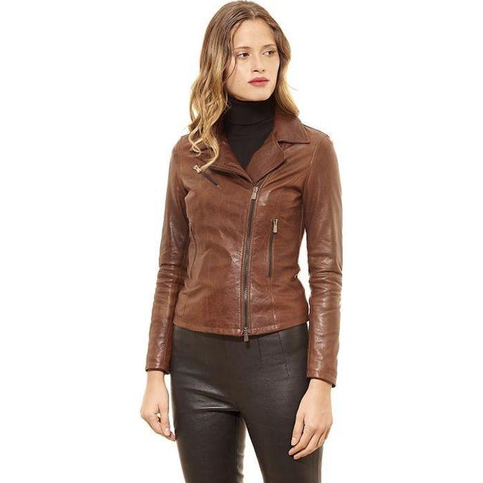 a160498dd983 PAOLA • couleur cognac • veste en cuir femme perfecto cuir pull up ...