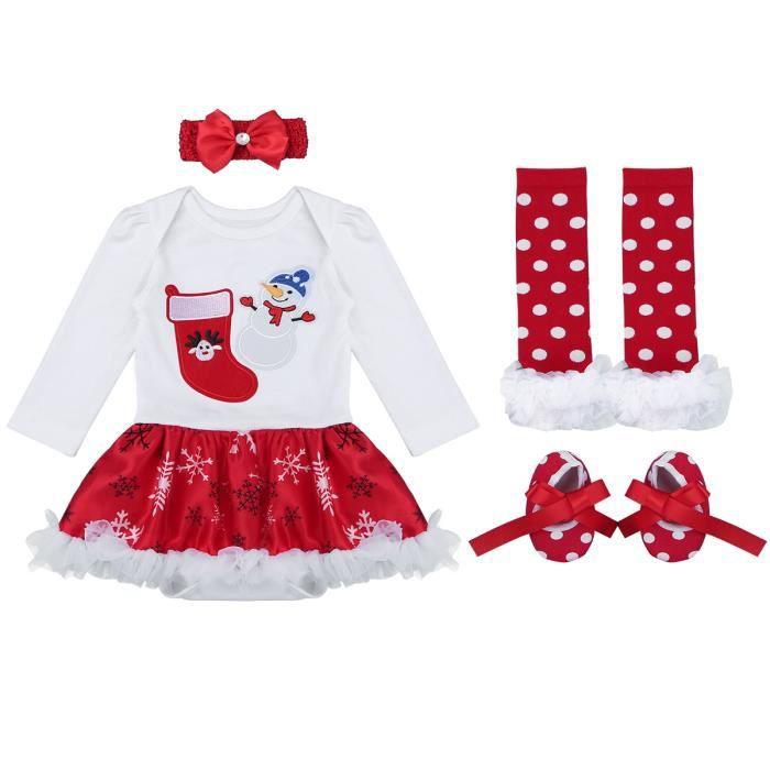 f95d19146c398 Barboteuse bébé fille Noël Ensemble de Vêtements bonhomme de neige Rouge  Soiréé Performance Body de Naissance Leotard Anniversaire