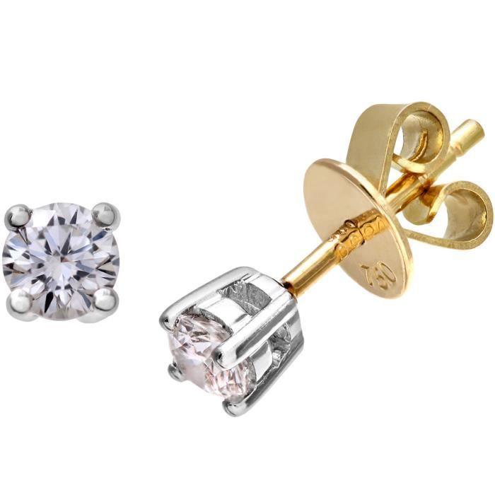 Revoni - Naaav - Boucles d'oreilles clous en or jaune 18 carats et diamants IJ-I - REVCDPE01373Y18JPK