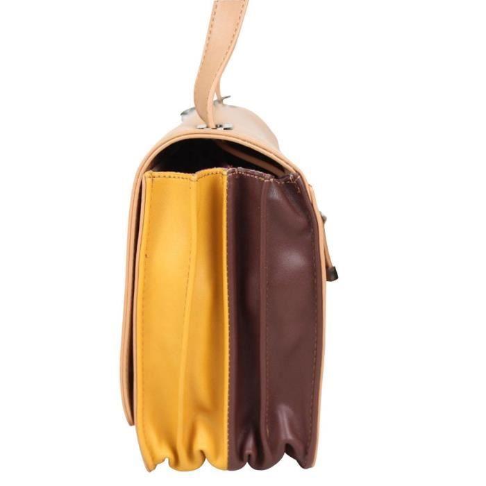 Sac bandoulière semi-rigide effet cuir lisse Lollipops Azale Side (Camel)