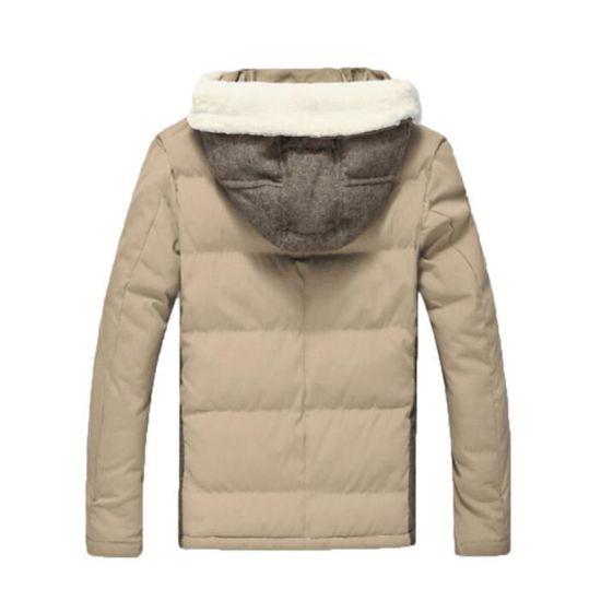Manteau Solide D'hiver Coton Chaud Hommes À En Rembourré Toison Veste Zippé Kaki Épais Capuchon P6w8Y4wqF