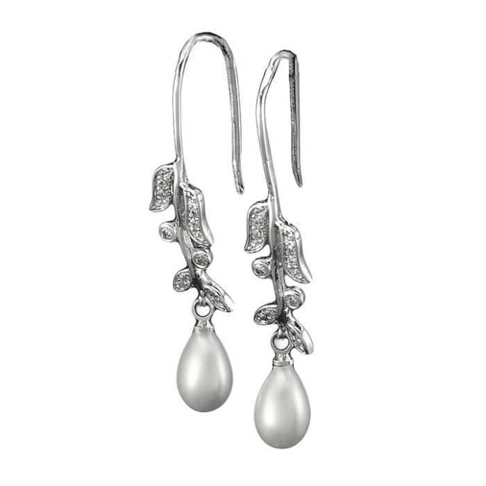 Boucles doreilles pendante Plaqué platine 750/00 18K carats Bijou fantaisie haut de gamme Femme Blanc Perle Fleur Lorette
