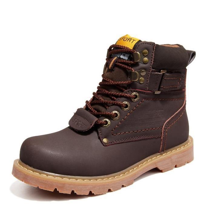 Hommes & # 39; bottes de neige en cuir véritable locomotive Martin bottes courtes d'hiver brun plus velours plate-forme étanche IxJHj6NyYb