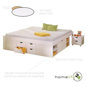 lit 180x200 avec sommier et rangement achat vente pas cher. Black Bedroom Furniture Sets. Home Design Ideas