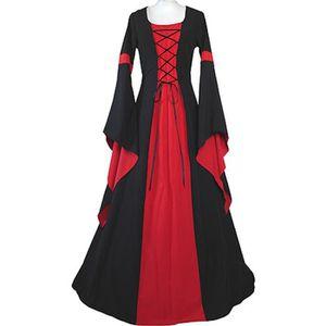 DÉGUISEMENT - PANOPLIE Déguisement Moyen Âge Costume Noire&Rouge Robe Méd