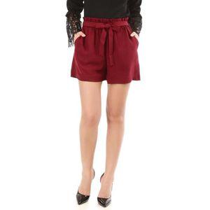 9c082f249a42 Short à pinces bordeaux avec ceinture-S Rouge Rouge - Achat   Vente ...