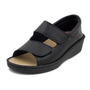 SANDALE - NU-PIEDS Femme sandale deténte, cuir noir, Westlake 1030N