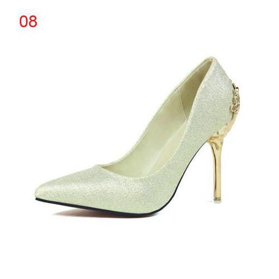 6d81e7263f15a Sexy Escarpins à talon aiguille de 10 cm femme dégradés Chaussures été  printemps autonme pour soirée ceremonie mariage Dorée claire - Achat    Vente escarpin ...