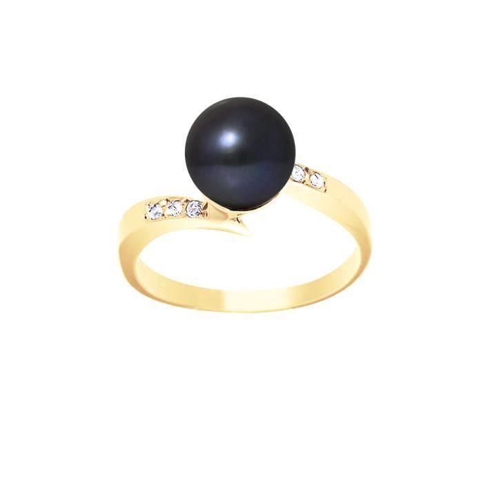 PERLINEA Bague Or Jaune 375° Perle de Culture et Diamants Femme