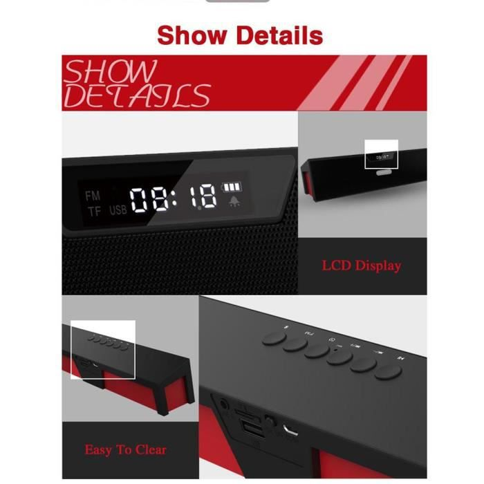 Lcd Mode D'affichage Haut-parleur Portable Stéréo Bluetooth Sans Fil Pour Smartphone Rd *w608