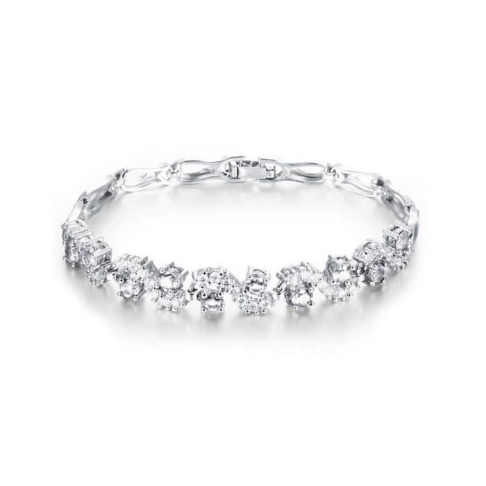 Womens Tennis Bracelet With White Zirconia Austrian Crystals 18 Ct White Gold Plated For 6.7 HX71X