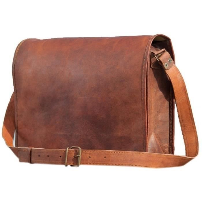 15 Inch Authentic Handcrafted Leather Full Flap Messenger & Laptop Bag