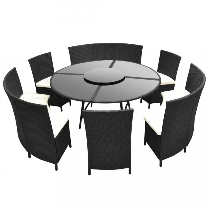 Magnifique Salon de jardin noir en polyrotin table ronde et chaises ...