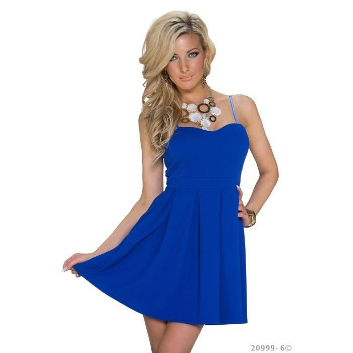 robe courte sexy bleu dos nu chic glamour femme