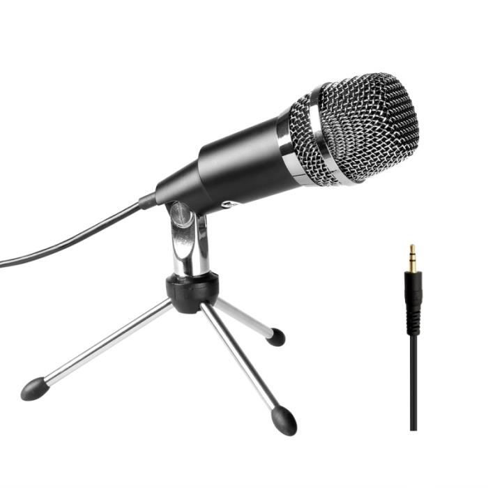(#144) Home Ktv Handheld Mic Universal Sound Recording Microphone With Tripod Stand For Pc & Laptop Live Boardcast(black)