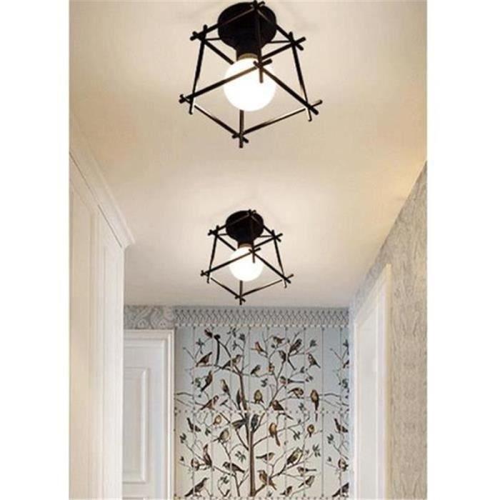 2pcs Plafonnier Industrielle Cage Lustre Lampe De Plafond En Metal