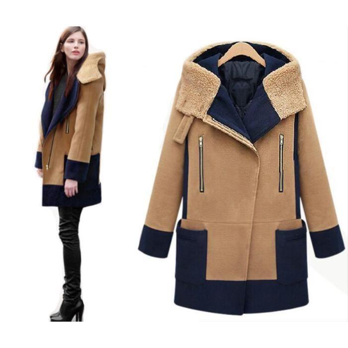 8475dbc0e729 SIMPLE FLAVOR Manteau d hiver femme cintrée à capuche fourrure Khaki ...
