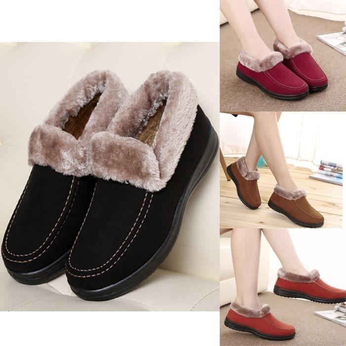 Les nouvelles femmes chaud Bottes rouge foncé 5.5rouge foncé 5.5 de neige plates Chaussures Bas