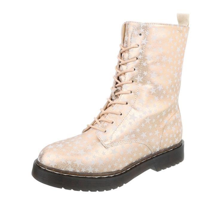 Bottines pour femme Star | Bottes lacets travailleur | Demi-bottes | Chaussures pour femmes Bottes lacées Cuir-Look | Bottes 10